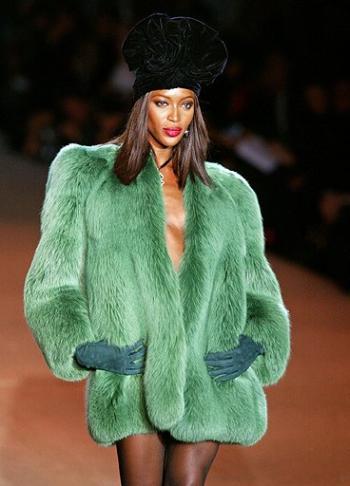 Naomi modeling YSL in 2002